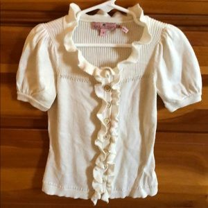 Juicy Couture girl's short sleeved cream sweater